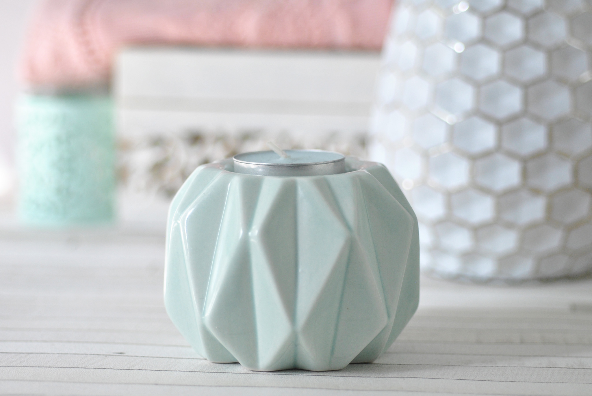 Opal blue geometric candle holder