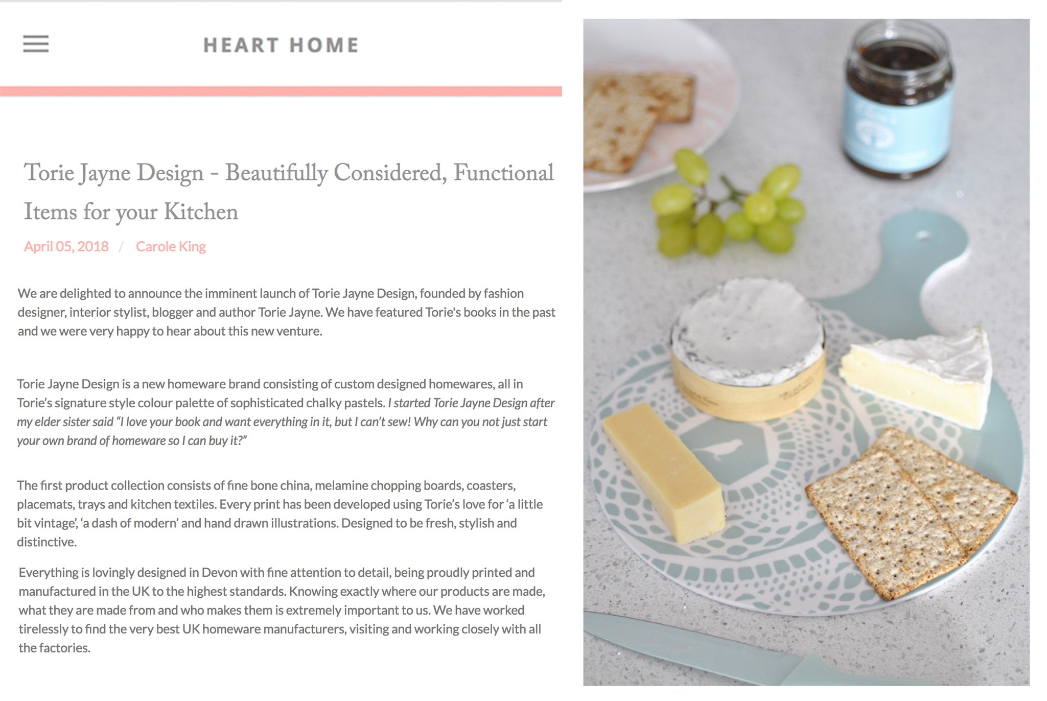 Press feature on heart home magazine
