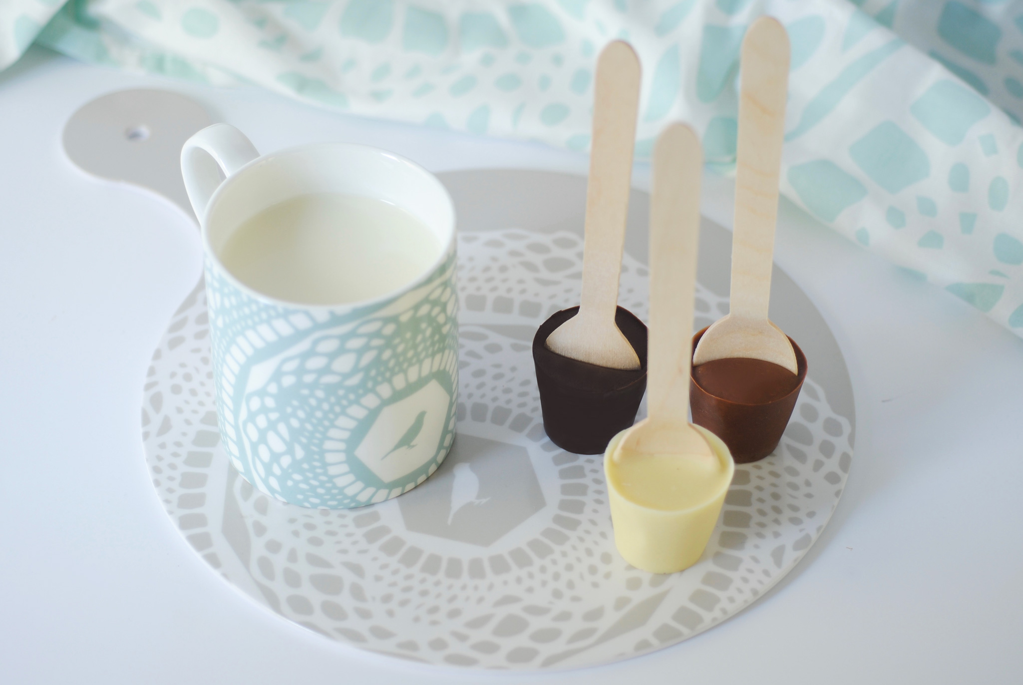 DIY white, dark and milk hot chocolate spoons
