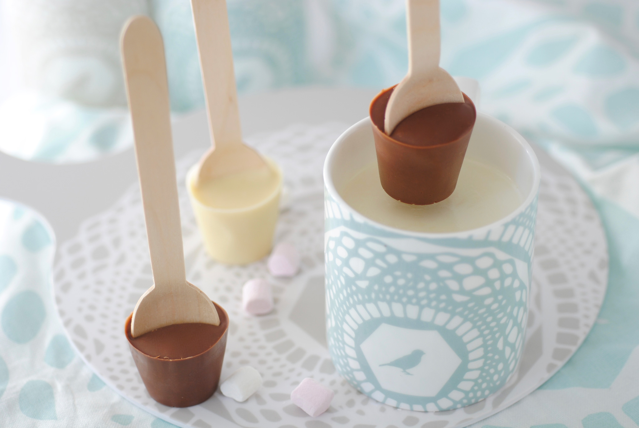 DIY hot chocolate spoon ready to be dunked