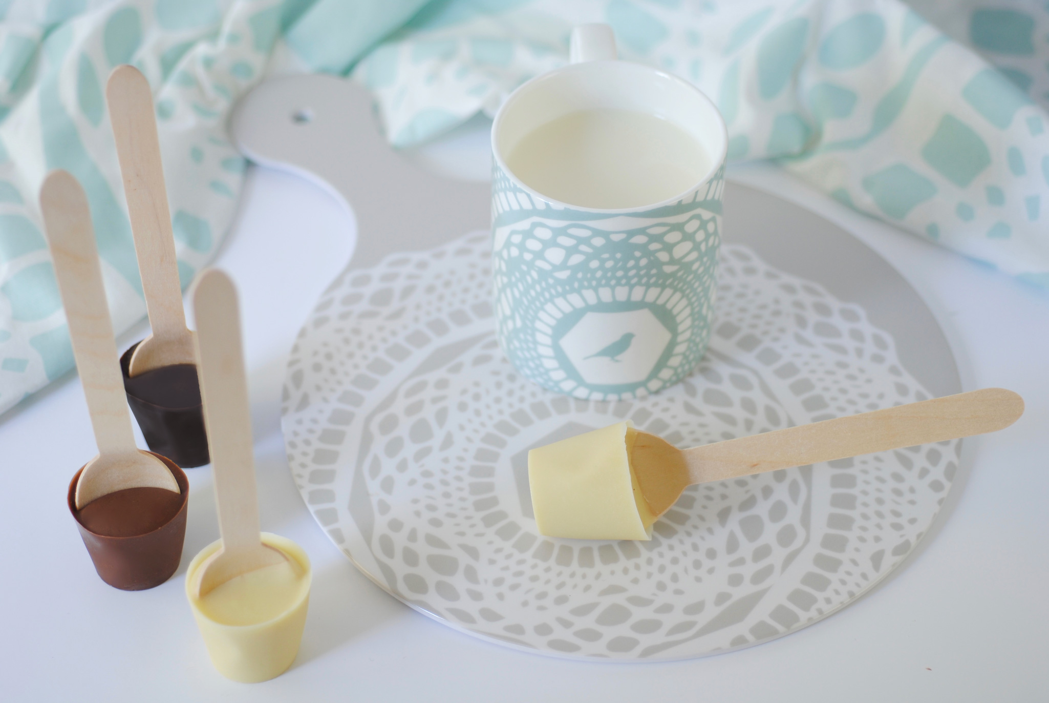 DIY milk, white and dark hot chocolate spoons